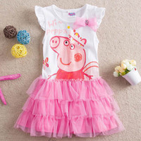 Wholesale peppa pig New Design Girl Dresses Girl White Pink Cotton Gauze Frill Sleeveless Tiered Dresses H4476