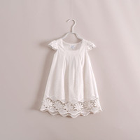 Wholesale Tulle baby girls cotton crochet lace floral white princess dresses lovely hallow out hole dress of kids clothing