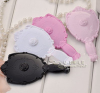 Wholesale 20X Vintage Rose Cosmetic Mirror Plastic Makeup Mirror Cute Girl Hand Make Up Mirror Purple Red Black White Pink
