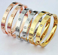 Wholesale Min order is LOVE couples titanium bangle rose gold pllated bracelet with Zirconia men and women bangle