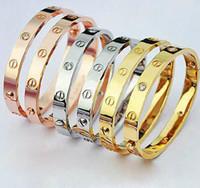 South American men titanium bracelet - Min order is LOVE couples titanium bangle rose gold pllated bracelet with Zirconia men and women bangle