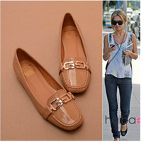 Slip-On Women Spring and Fall 2014 new arrivals fashion famous designer brand runway star casual nude shoes spring summer European patent leather candy flat for women 04