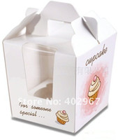 Wholesale Party Cake paper cookie Favor box Cupcake favour package boxes cake Holder with handle