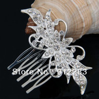 Wholesale Silver Plated Rhinestone Crystal Flower Bridal Tiara Hair Slide Comb Pin Women