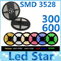 Wholesale 3528 SMD M Leds Leds Waterproof flexible led strips light V warm cool white red green blue yellow pink for Christmas lights