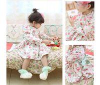 Wholesale Fashion New Korean Children Spring Fall Floral Dress Japanese Girls Long Sleeve Dress Year Baby Princess Dresses Kids Clothing