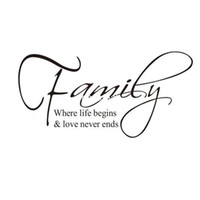 Wholesale Hot Selling Family where life begins and love never ends Vinyl Art Quotes Removable Wall Decal Sticker Decor living room bedroom