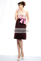 Wholesale 2014 Rose Brown Bridesmaid Dresses Eden Bridal Sweetheart Matte Satin Knee Length Backless Pleated Handcrafted Ribbon Bow Custom Made