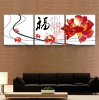 beautiful flower oil painting - 3 Panel Hot Sell Modern Wall Painting Home Decorative Art Picture Paint on Canvas Prints Beautiful red flowers and Chinese characters