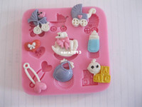 Wholesale Baby care Chocolate Candy Jello D silicone Mold soap Mould Cartoon Figre cake tools