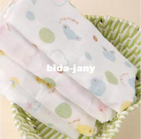 Wholesale Cotton baby face towels double layer cartoon gauze handkerchief feeding towels