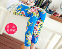 floral print pants - 2014 Hot Spring New Arrival Colors Baby Girls Leggings Kids Flowers Printed Children Begonia Floral Tights Girl Legging Pants B2844