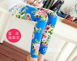 Wholesale 2014 Hot Spring New Arrival Colors Baby Girls Leggings Kids Flowers Printed Children Begonia Floral Tights Girl Legging Pants B2844