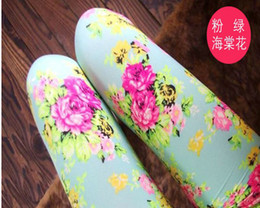 Hot Spring New Arrival 5 Colors Baby Girls Leggings Kids Flowers Printed Children Begonia Floral Tights Girl Legging Pants B2844