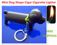 Wholesale Black Color Mini Cute Dog Shape Refillable Butane Gas Flame Lighter With Keychain Puppy Pendant Lighters