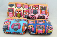 Wholesale New Ladies Women Designer Canvas Owl Print Purse Wallet Coin Bag