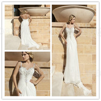 Sheath/Column Reference Images Spaghetti Demetrios Destination Romance DR190 Chiffon Sweetheart beaded straps Low back buttons Sweep train beach wedding dresses bridal gowns 2014