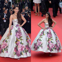 Reference Images Strapless Satin 2014 New Arrival sonam-kapoor-poses Cannes Festivel Myriam fares Celebrity Dress Strapless Custom Made Floor Vintage Ball Gown Evening Dress