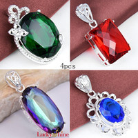 4pcs 925 silver garnet gemstone blue topaz fashion pendant j...