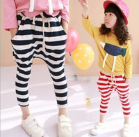 Wholesale New Middlesex Boys Girls Harem Pants Children Clothing Striped Long Leisure Belt Pant Kids Casual Clothes Red Black Unisex C1001