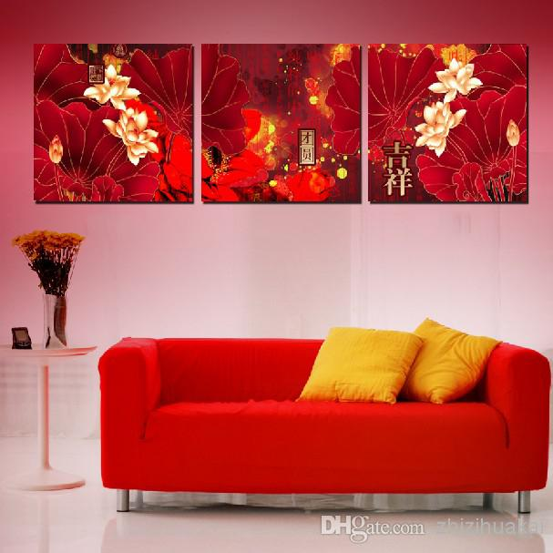Wall Art Set Home Decoration Wall Decor Canvas Pictures For Living Room As  A Flame Red Lotus Leaf, Lotus, And Chinese Characters Paintings Pictures On  The ...