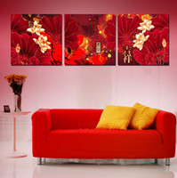 Wholesale Chinese Ink Paintings Lotus - 3 piece wall art set home decoration wall decor canvas pictures for living room As a flame red lotus leaf, lotus, and Chinese characters
