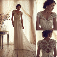 Wholesale Vintage Sheer Sexy A Line Court Train Beaded Cheap Bridal Wedding Dresses Gowns Lace