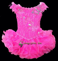 Wholesale Applique beaded Sequins lace bow organza ruffles infant cupcake pageant party dresses ball gowns flower girls mini skirt Feisty LeRaye