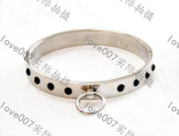 Wholesale BDSM FATORY Stainless Steel Heavy Duty Internal Lock Collar Gem Necklace