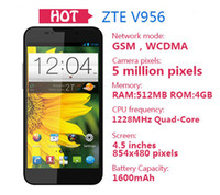 ZTE 4.6 Android4.2 Wholesale Unlocked ZTE V956 4.5'' Quad Core MSM8225Q Smart Phone Android 4.1 Dual SIM 3G 512MB 4GB WiFi GPS Cameras English