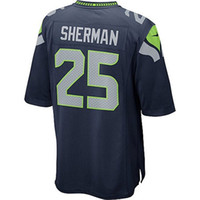 Wholesale Cornerback Richard Sherman Mens Elite Football Jerseys High Quality Blue Football Apparel Well Embroidery Names Stylish Jerseys