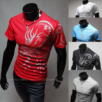 Men Cotton Round new short sleeved mens polo shirts fashion style slim male Hitz tattoo T-Shirts 5colors 4sizes