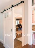 Black powder coating closet door - 6ft Rustic Vintage black sliding barn wood door hardware wood closet door hanger track kit