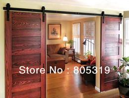 Wholesale Double Sliding Barn Wood Door Heavy duty modern wooden black sliding barn door hardware
