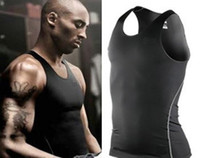 Wholesale New Men Gym Clothing Sports and Fitness Vest Basketball Training Vest Tight Sweat absorbent tights Sleeveless T shirtTank Tops