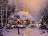 Yes oil painting gallery - oil painting gallery Landscape painting Museum quality Decorative oil painting Stonehearth Hutch by Thomas Kinkade painting