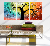 Abstract Yes No 3 panel canvas wall art abstract modern acrylic wall deco tree artwork hand painted oil painting set living room free shipping