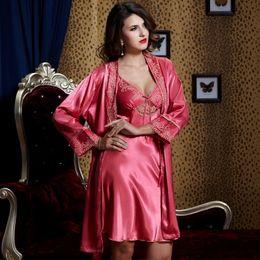 Real Nightwear Top Quality Stain Women Nightgown Robe V Neck Three Quarter Sleeve Sets Sexy Sleepwear Plus Big Size 9222