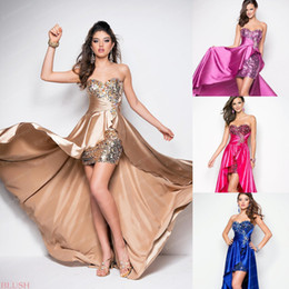 Wholesale 2014 Top Selling Cheap Cocktail Dresses Sequins Satin Hi Lo Homecoming Party Women Costumes Prom Gowns BL9508