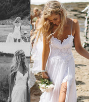 Wholesale 2014 Boho Beach Wedding Dresses Spaghetti Straps Backless White Lace Appliques A Line Chiffon Skirt Sweep Train Low Back Bridal Gowns
