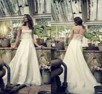 Wholesale Strapless A line Organza Lace Wedding Dresses Bridal Gowns Corset And Tulle Back Simple Elbeth Gillis Sophia Chapel Train Bridal Gowns