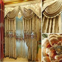 Wholesale European style luxury vivian lace water soluble embroidered curtain fashion custom made curtains for the living room