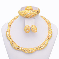 Wholesale Big Heavy Gold Filled Women Home Party Jewelry Set of Adjustable Ring Top Fashion African Gold Jewelry A077