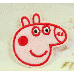 Wholesale Hot sale Peppa Pig Chapter Embroidery Pink Pig Fabric Sticker