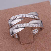 Wholesale Simple Couple Rings Silver Rhinestone Cross Shaped Love Wedding Engagement Ring Best Gift