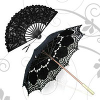 Wholesale Gothic style black Parasol Umbrella for wedding Bridal batten lace hand Fan
