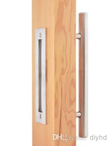 DIYHD 12 Stainless Steel Brushed Satin Sliding Barn Door Wood Door Two  Sides Handle And Pulls Barn Door Handle Wood Door Pull Closet Door Pull  Online With ...