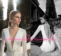 Sheath/Column Reference Images V-Neck 2014 Sheath Mermaid Wedding Dresses Berta Bridal Plunging V Neck Sheer Long Sleeve Backless Pearl Beaded Satin Beach Bridal Gowns BO3925