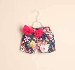 Wholesale new spring summer Children s girls babys wispy floral princess cotton bow printed Jeans amp Pants hot shorts HH