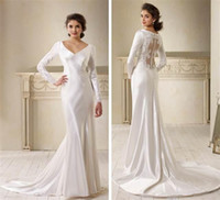 Reference Images bella bridal - Modern white satin Twilight Bella sheath wedding dresses V neck lace button back sweep train long sleeves bridal gowns BO4074
